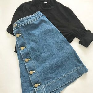American Apparel Denim Button Front Mini Skirt
